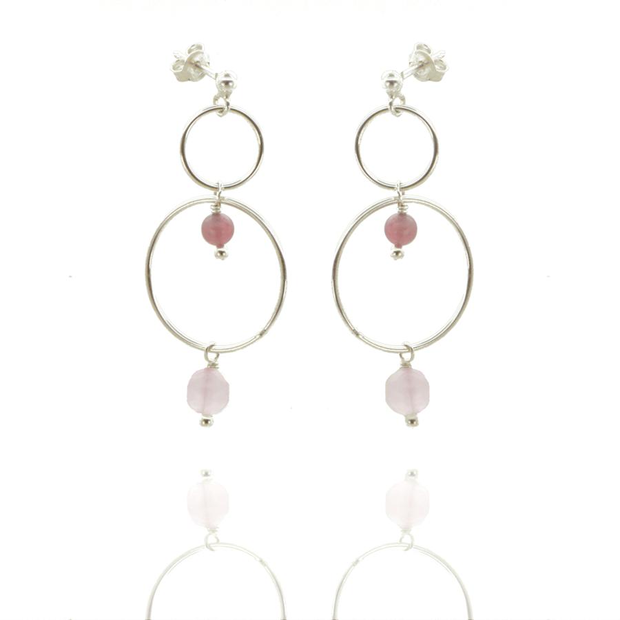 Boucles oreilles argent pendant pierre tourmaline rose