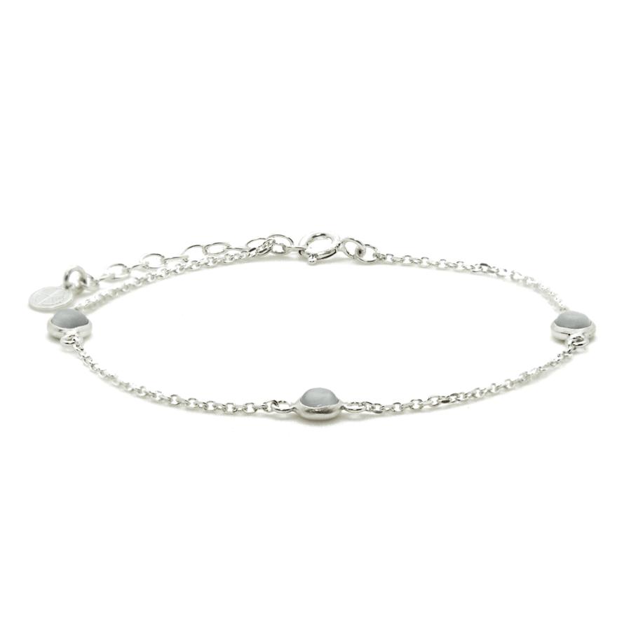Bracelet argent bijoux pierre quartz gris liberty fixe aglaiaco