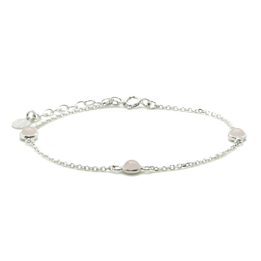 Bracelet argent bijoux pierre quartz rose liberty fixe aglaiaco