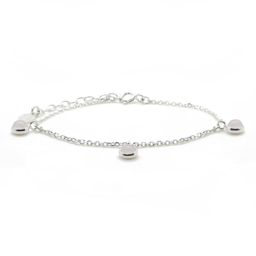 Bracelet argent bijoux pierre quartz rose liberty charms aglaiaco