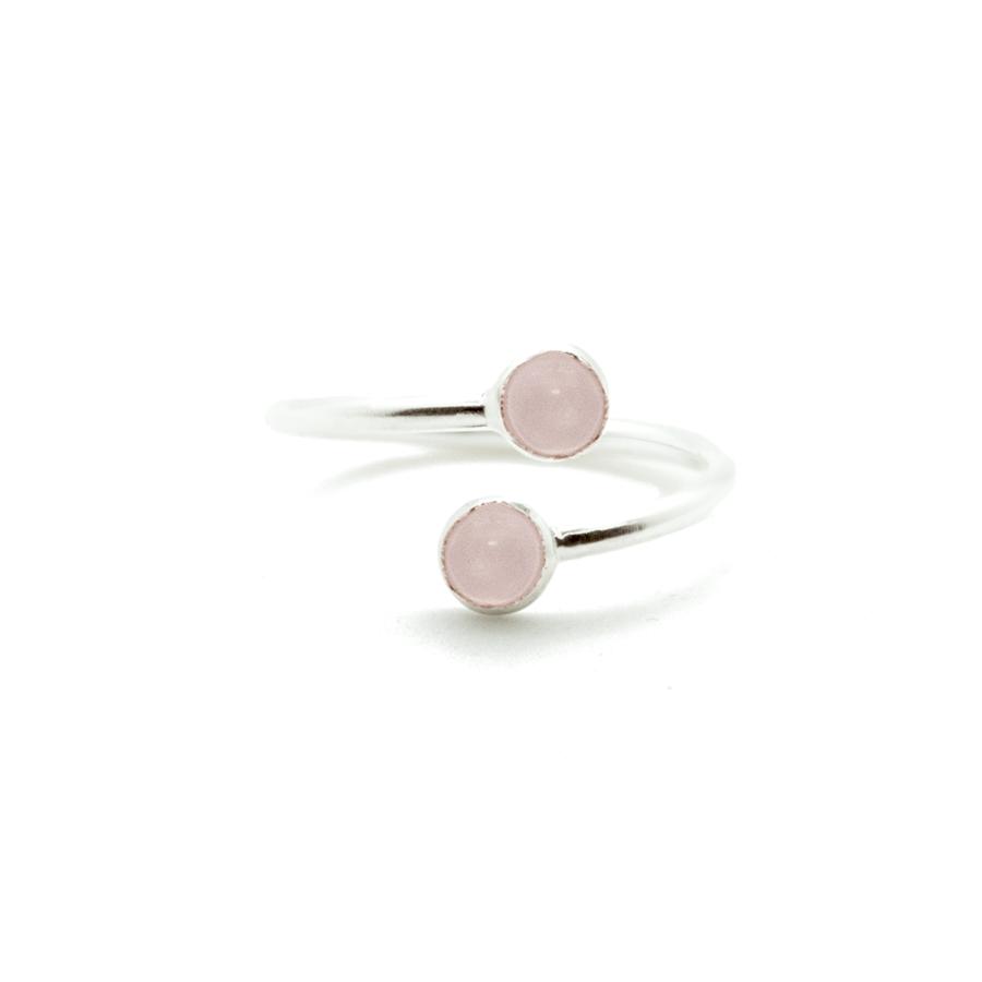 Bague argent bijoux pierre cabochon quartz rose aglaiaco