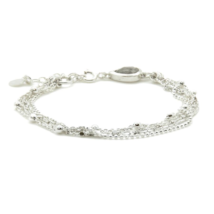 Bracelet argent multi chaines labradorite goutte divine