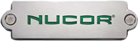 Nucor burnished steel logo with green letters
