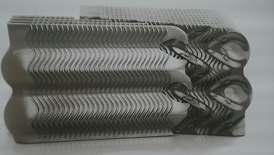 A 3D-printed aluminum heat exchanger. Photo: Jeff Yoders