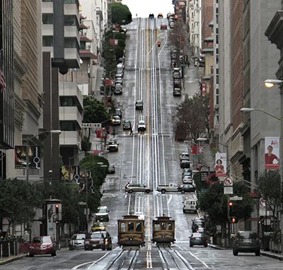 Nob Hill, San Francisco (Looking west up California Street, Nob
