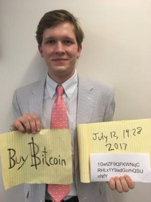 Buy Bitcoin Sign Guy