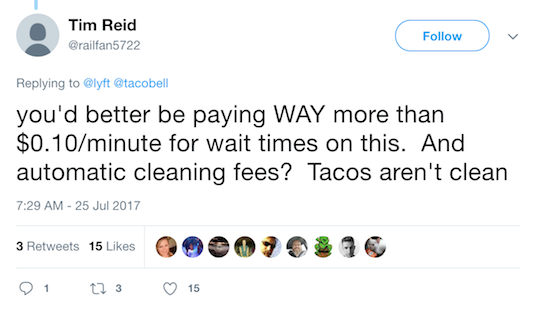 Tweet reply to Lyft, Taco Bell