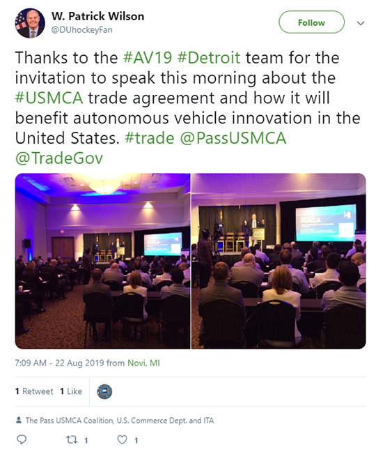 W. Patrick Wilson Tweet Autonomous Vehicle