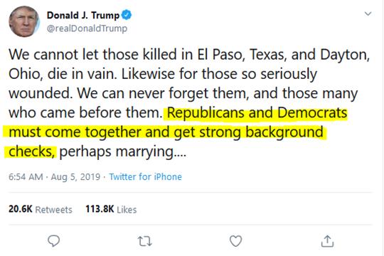 Donald J. Trump Tweet Gun Reform