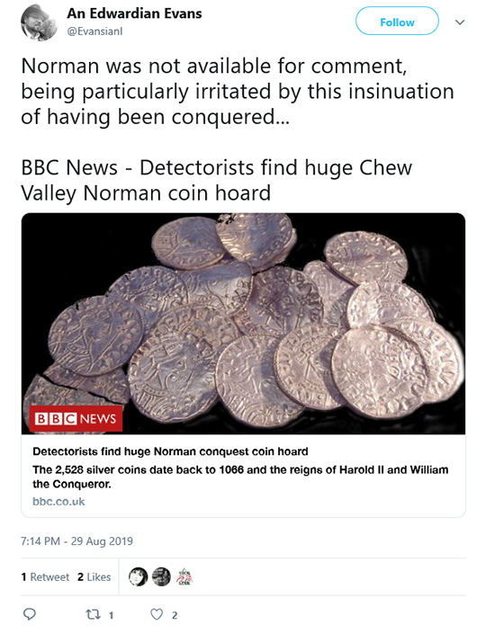 Norman Coin Hoard BBC Tweet