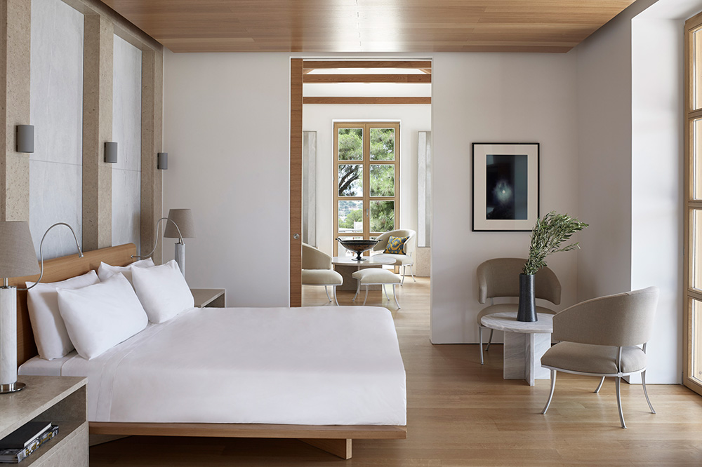 Bedroom in a villa at Amanzoe