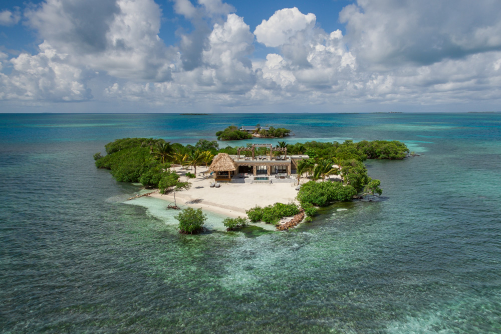 Aerial view of Gladden Private Island, Belize
