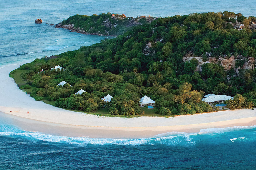 Aerial view of Cousine Island, Seychelles