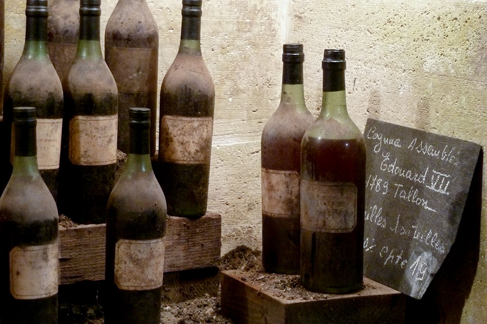 The aging cellar at the Couvoisier headquarters