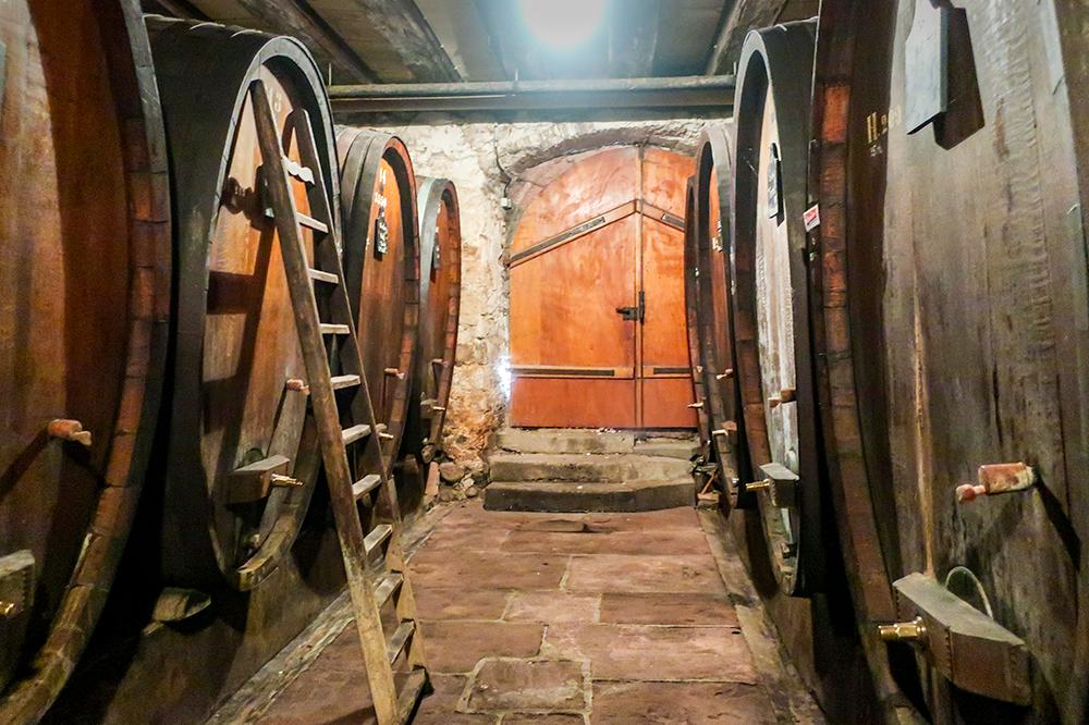 The barrel-aging room at Jean-Baptiste Adam in Ammerschwihr