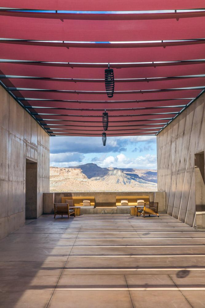 Hallway seating area at Amangiri in Canyon Point, Utah