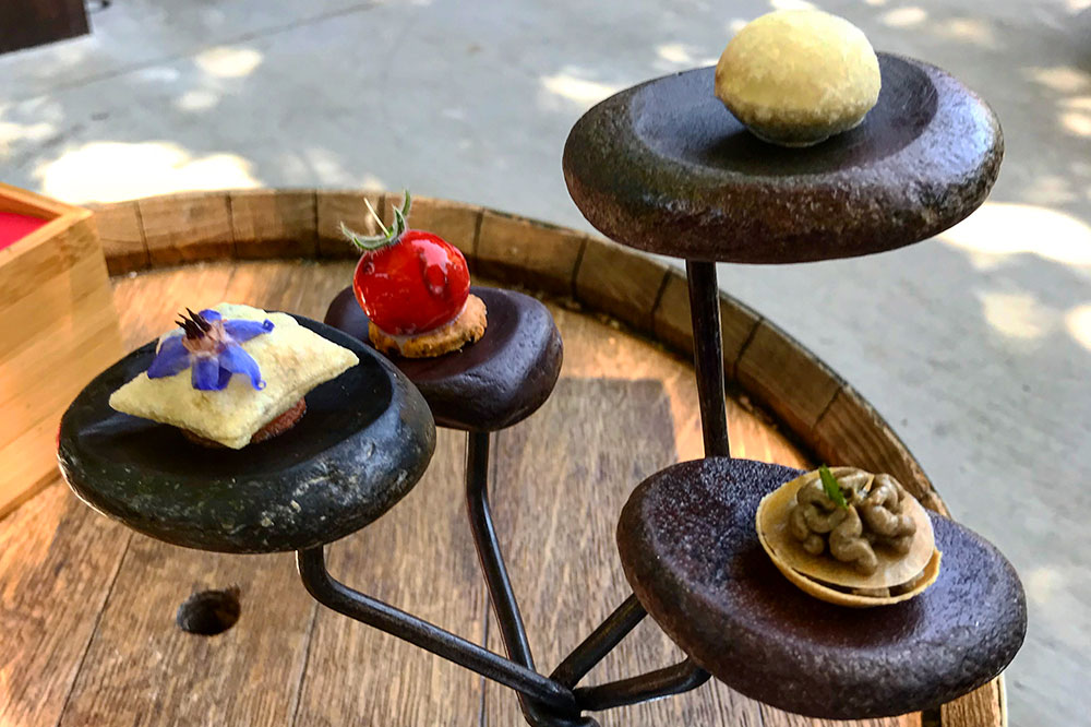 Amuse-bouches at Auberge du Vieux Puits in Fontjoncouse