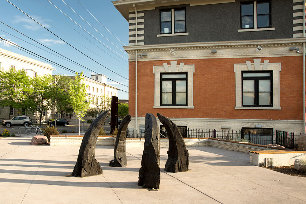 Phoebe Knapp's exhibition <em>Rough Cuts</em> at the Art Park in front of the Missoula Art Museum
