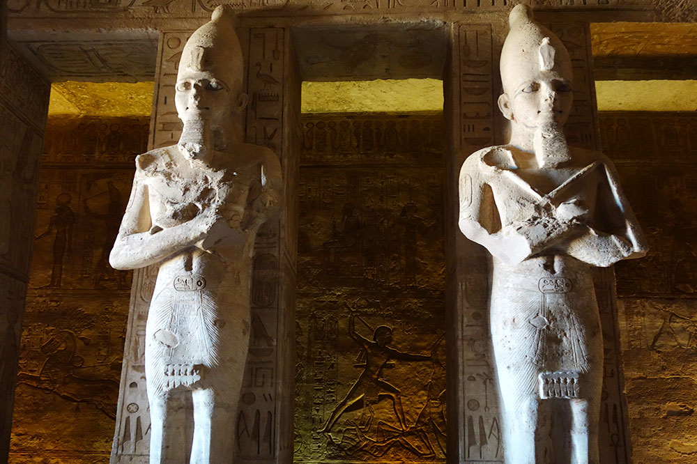 Statues in the temple of Abu Simbel in Aswan