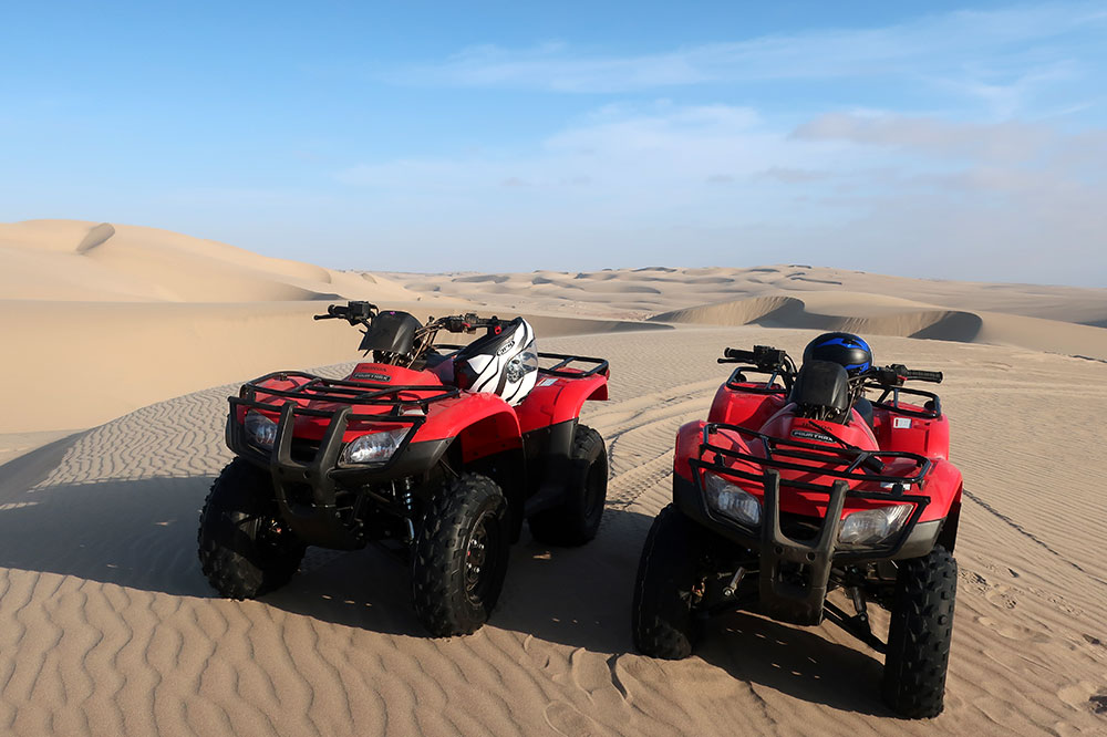 The ATVs for our quad-biking excursion with Shipwreck Lodge