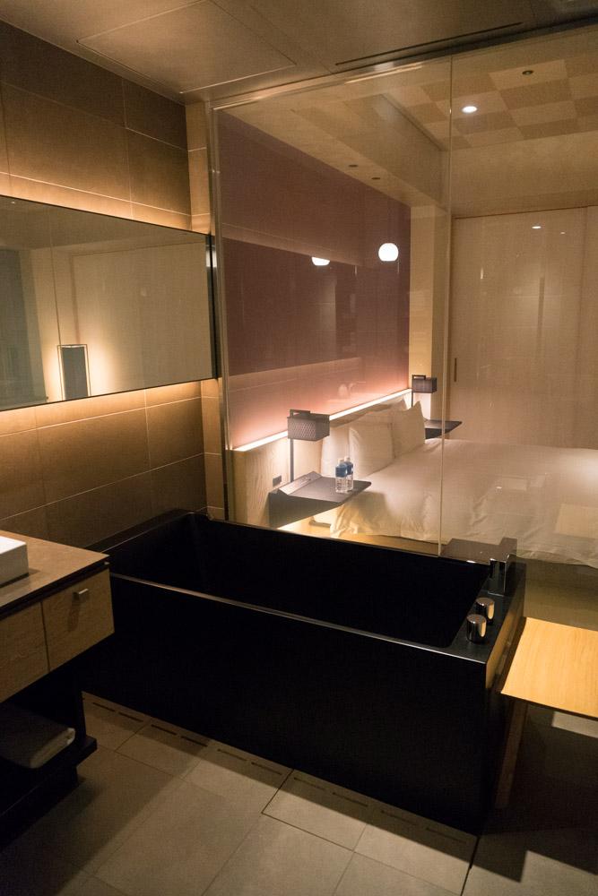 Our deep soaking tub at Hoshinoya Tokyo