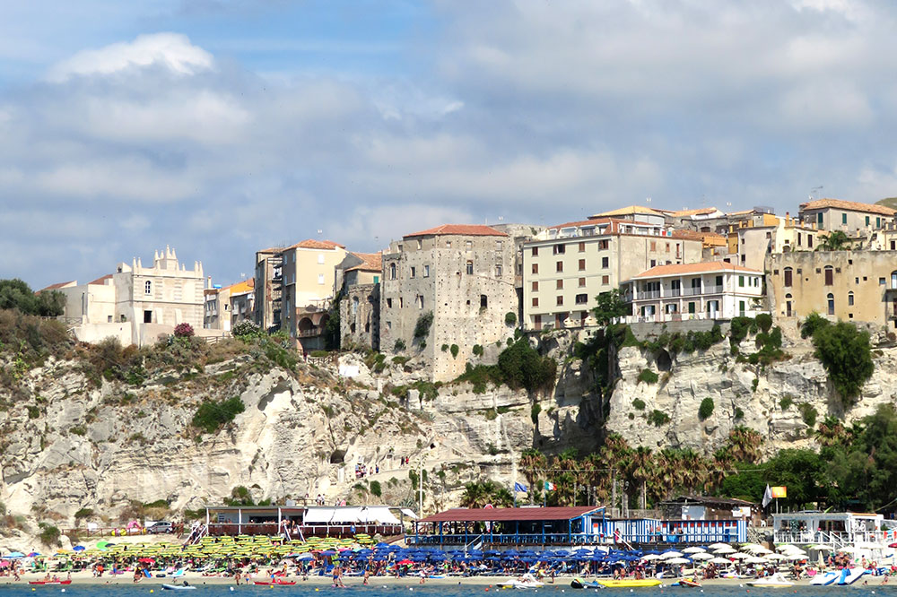 A view of the beach in Tropea