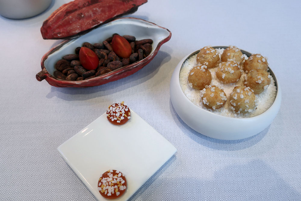 Choux pastries, membrillo (quince paste), and truffles of white chocolate and caramel from Claude Bosi at Bibendum