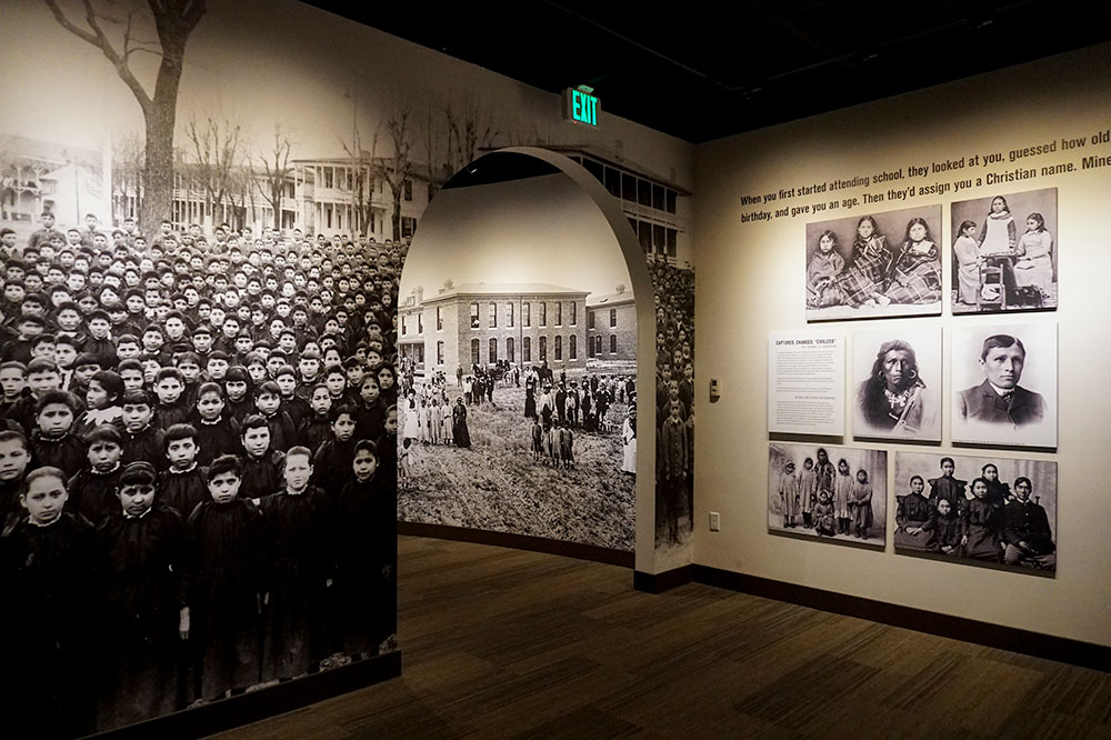 An exhibit on Native American boarding schools at the Heard Museum