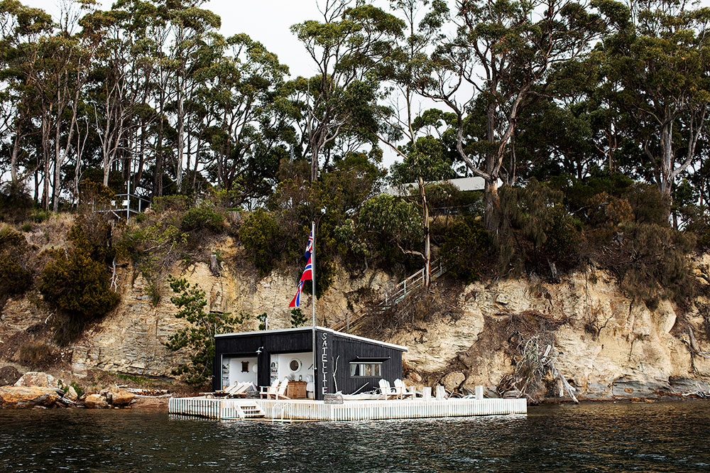Boathouse on Satellite Island on Tasmania, Australia