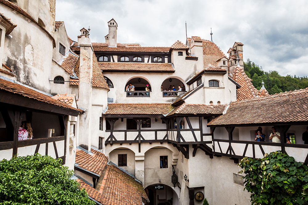 The view over the courtyard in Bran Castle in Bran