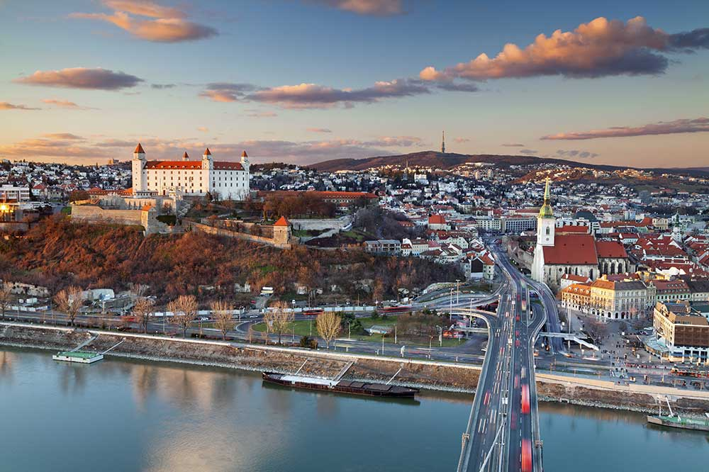 A view of the city of Bratislava, Slovakia