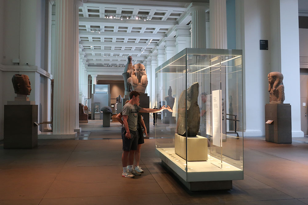 The Rosetta stone during a preopening tour at the museum