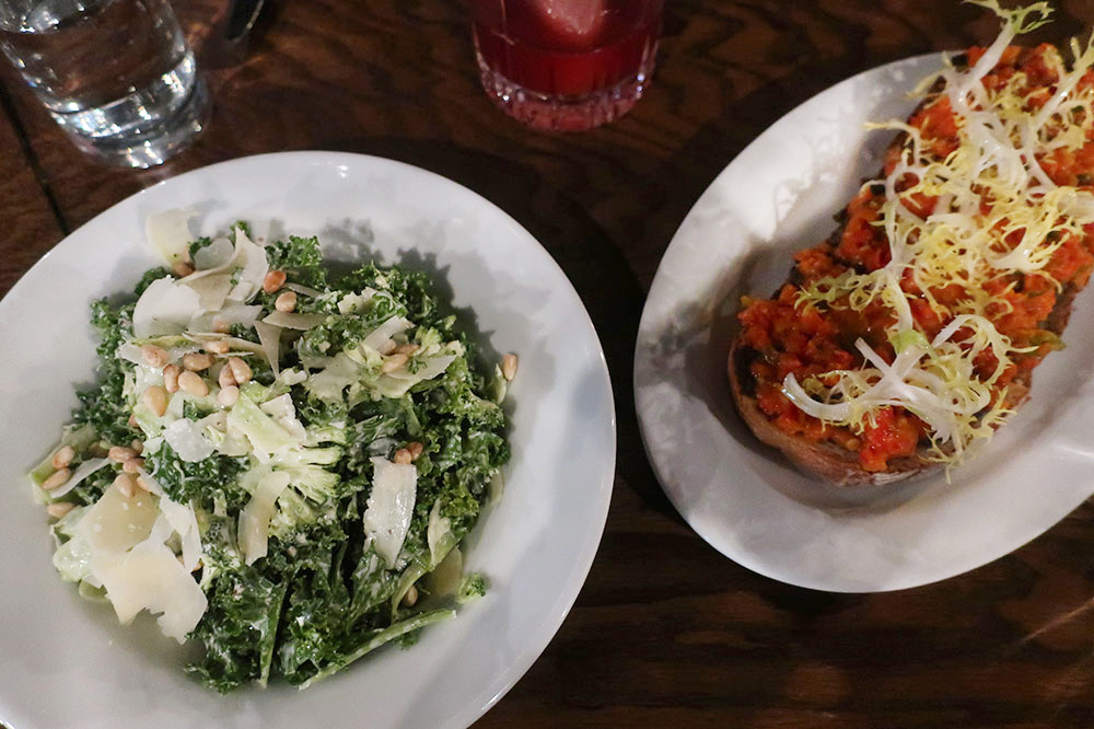 Broccoli-and-kale salad and mushroom toast from Bibliophile