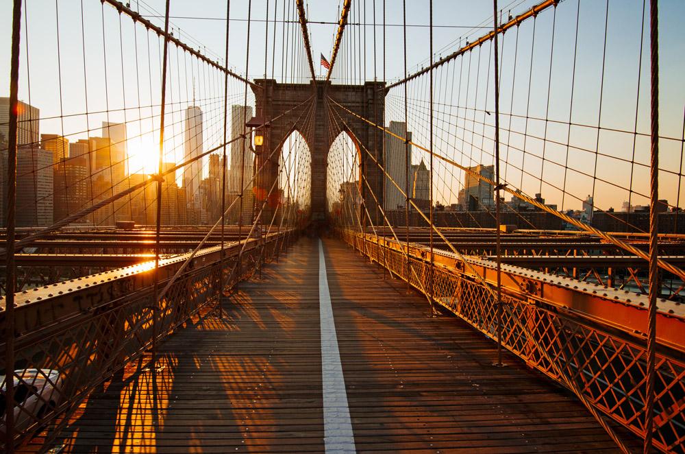 The pedestrian pathway across the Brooklyn Bridge