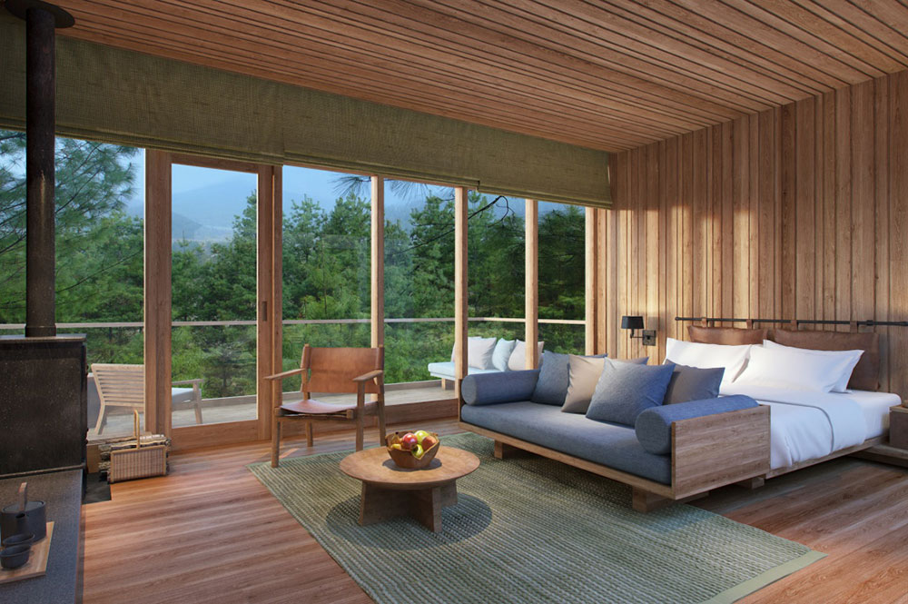 A suite at the Bumthang location of the new Six Senses Bhutan