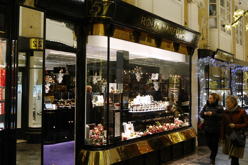 Roja Dove's perfume shop along Burlington Arcade