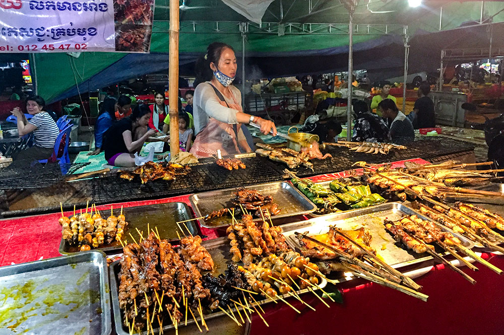 A street food stall in Siem Reap, Cambodia
