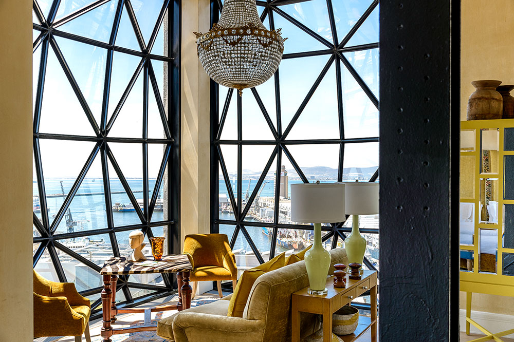 The sitting area of a Deluxe Superior Suite at The Silo in Cape Town, South Africa