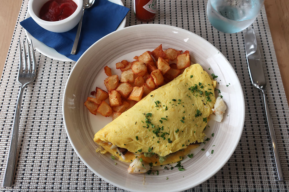 A crab omelet at the Carbon Beach Club Restaurant at the Malibu Beach Inn