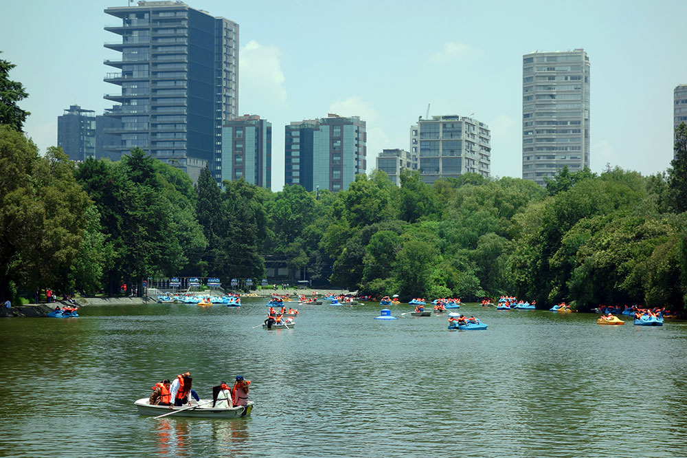 One of several lakes in Chapultepec Park