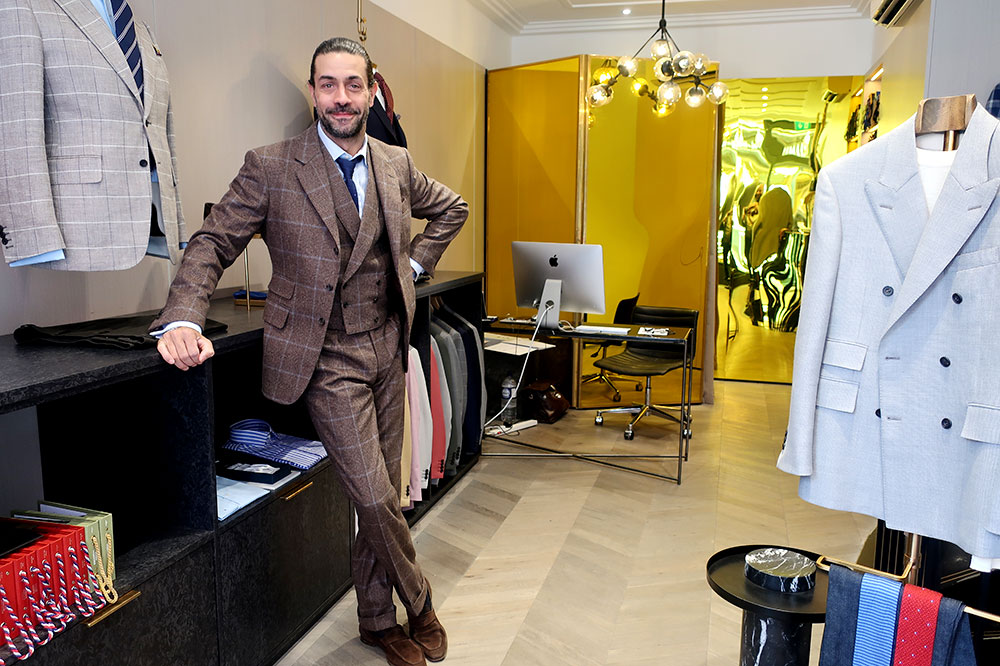 Creative director Karl Matthews at the English Cut on Chiltern Street in London