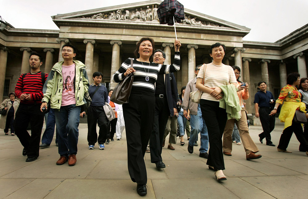 The first group of Chinese tourists to visit London, in 2005, not for business or study but for pleasure