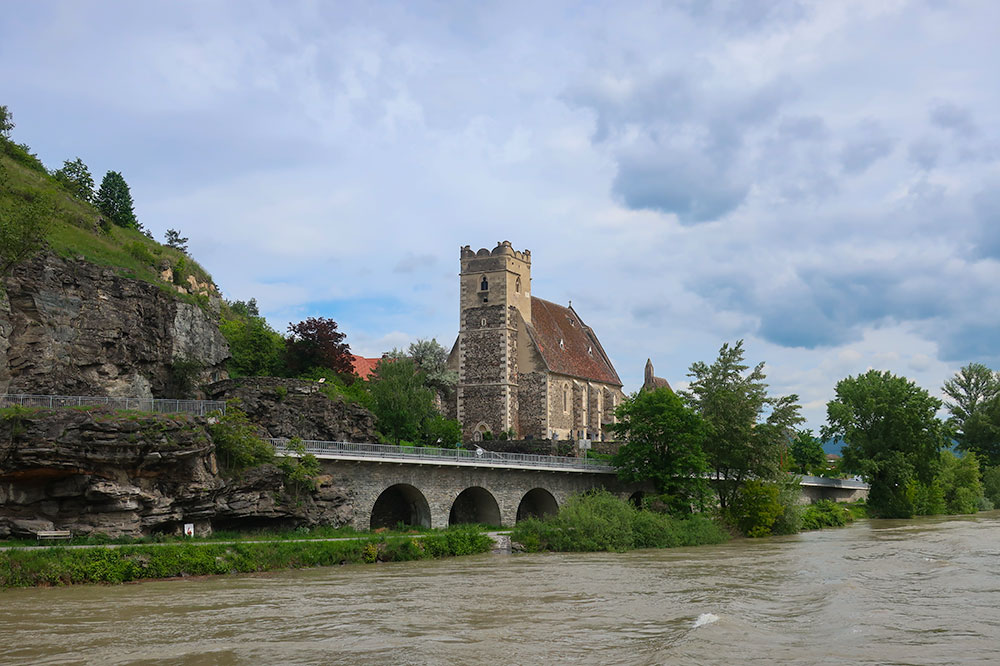 Church of St. Michael viewed from the Danube sightseeing cruise
