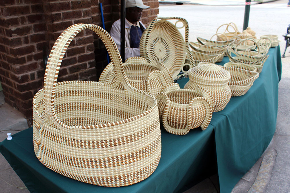 Sweet grass baskets, a staple of early Gullah culture, being sold at the Charleston City Market in Charleston, South Carolina