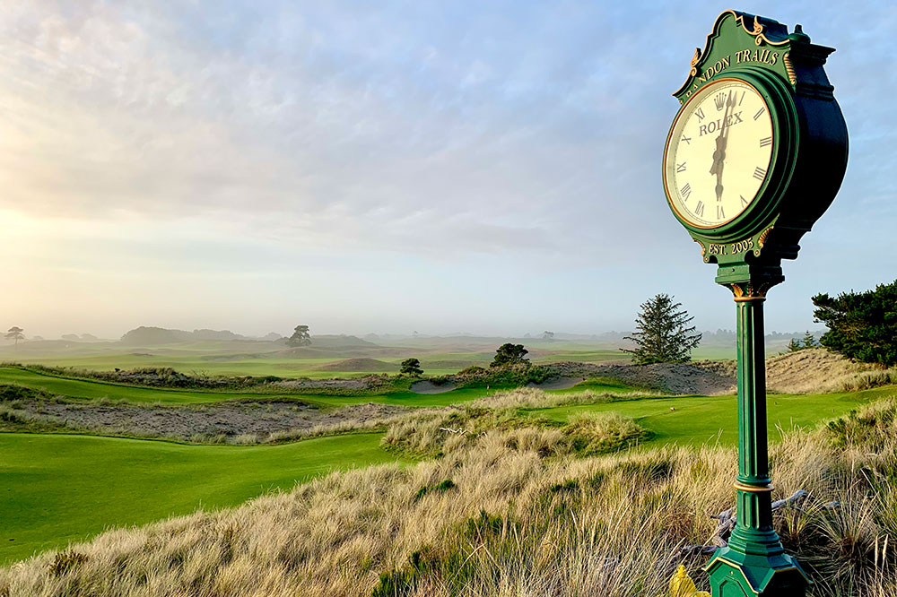 Traditional Rolex clocks adorn all of Bandon Dunes' golf courses