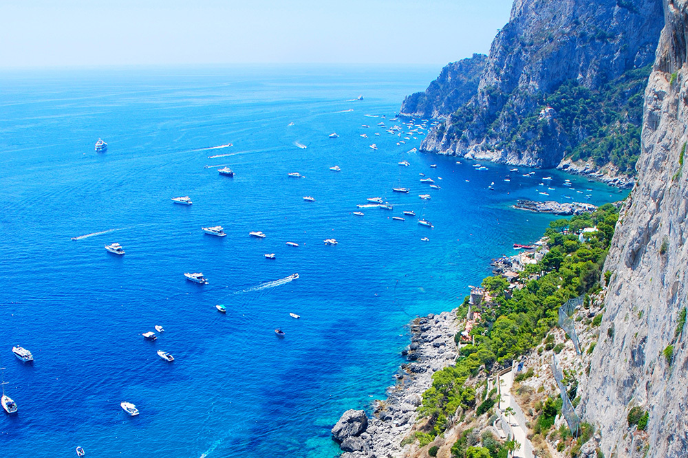 A view of the coast in Positano, Italy