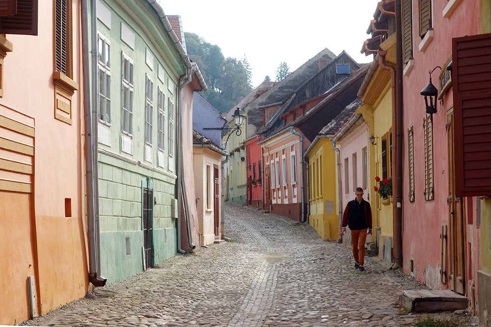 A colorful street in Sighișoara, Romania
