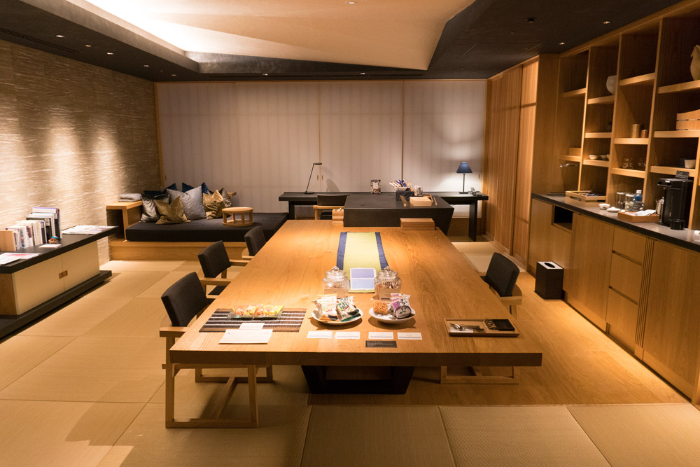 The common room on our floor at Hoshinoya Tokyo