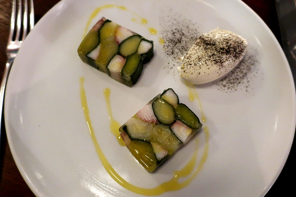 A terrine of leek and smoked eel with horseradish clotted cream from Cora Pearl