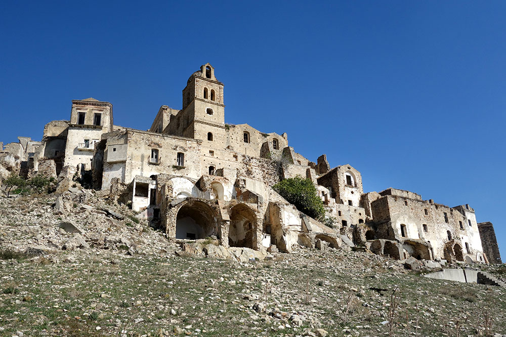 Village ruins at Craco in Basilicata, Italy